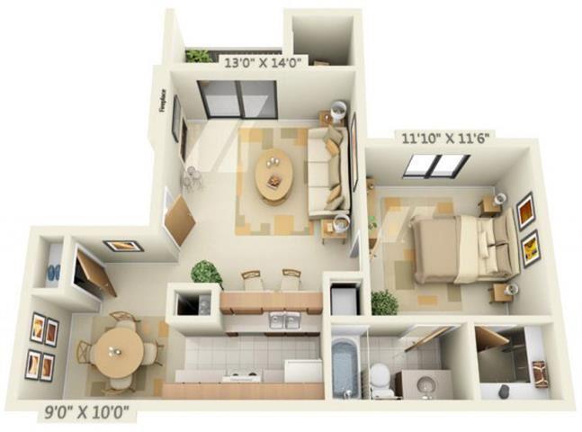 Pheasant Pointe Apartments Cypress 1x1 Floor Plan 680 Square Feet