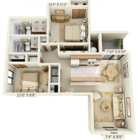 Pheasant Pointe Apartments Sequoia 2x2 Floor Plan 926 Square Feet