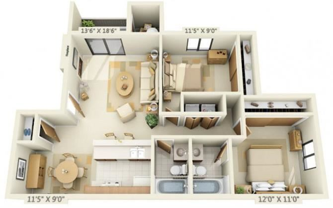 Pheasant Pointe Apartments Willow 2x2 Floor Plan 887 Square Feet