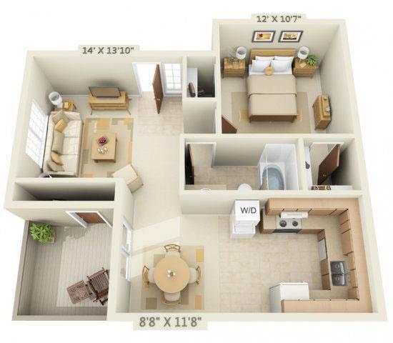 Woodbridge Apartments 1x1 Floor Plan 655 Square Feet