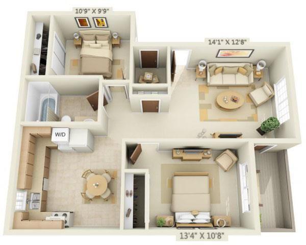 Woodbridge Apartments 2x1 Floor Plan 765 Square Feet