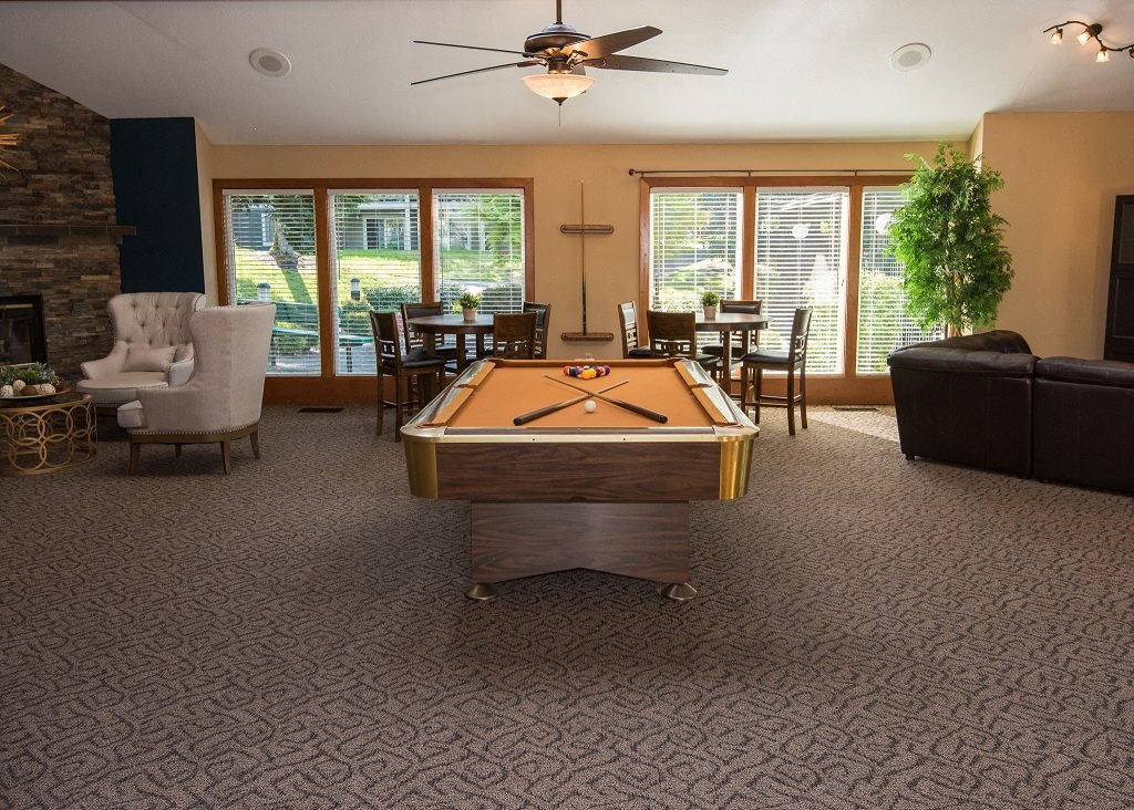 Crown Court Clubhouse Interior & Billiards Table