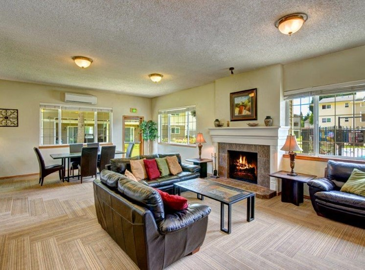 Maple Pointe Clubhouse Interior Seating Area & Fireplace