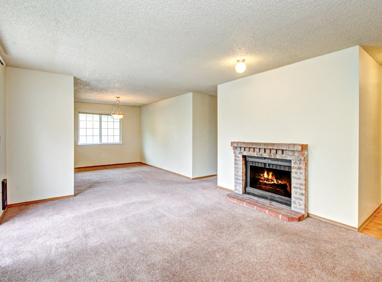 Maple Pointe Vacant Apartment Living Room & Fireplace