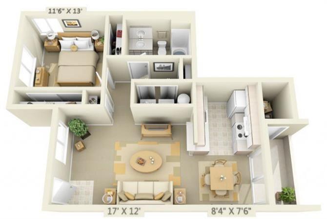Elmonica Court Apartments 1x1 Floor Plan 720 Square Feet