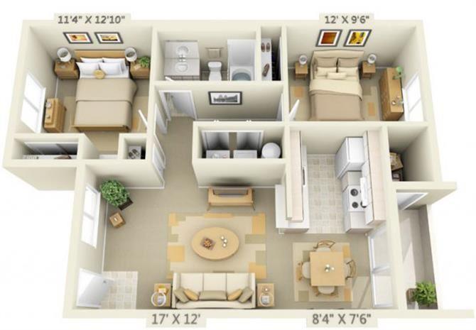 Elmonica Court Apartments 2x1.3 Floor Plan 900 Square Feet
