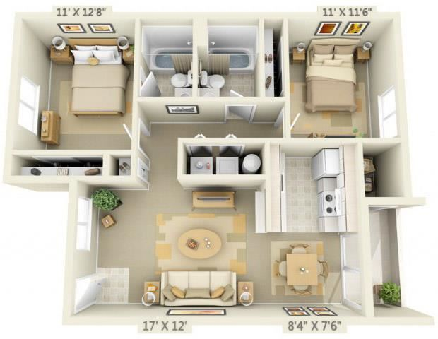Elmonica Court Apartments 2x2 Floor Plan 920 Square Feet
