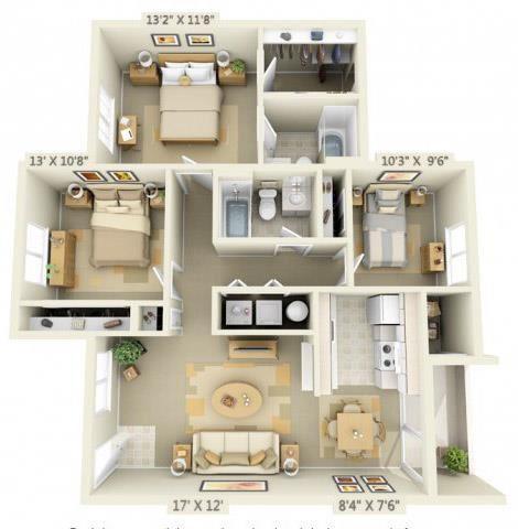 Elmonica Court Apartments 3x2 Floor Plan 1110 Square Feet