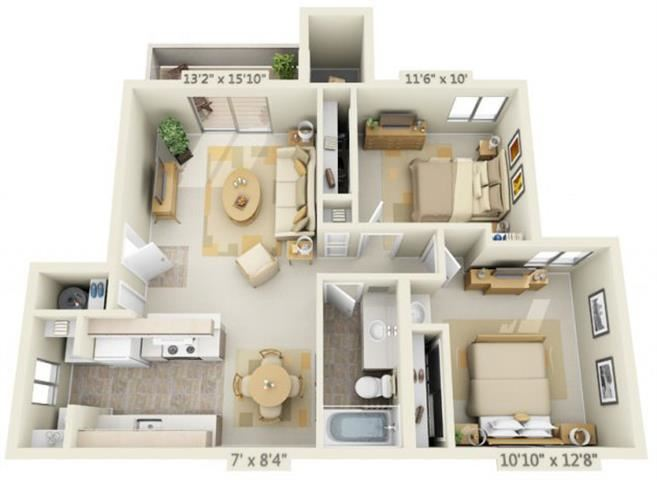 Kings Court Apartments 2x1 Floor Plan 856 Square Feet