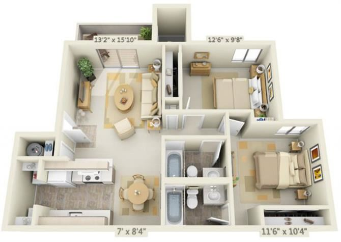 Kings Court Apartments 2x2 Floor Plan 881 Square Feet