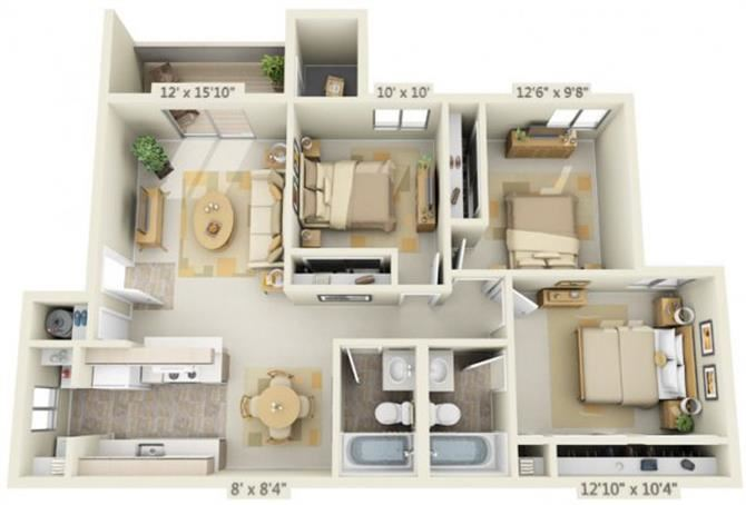 Kings Court Apartments 3x2 Floor Plan 1019 Square Feet