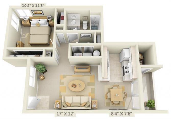 St Marys Woods 1x1 Floor Plan 719 Square Feet