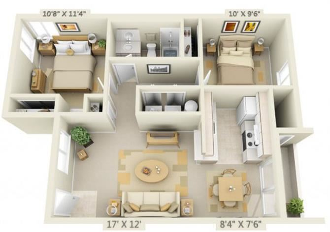 St Marys Woods 2x1 Floor Plan 896 Square Feet