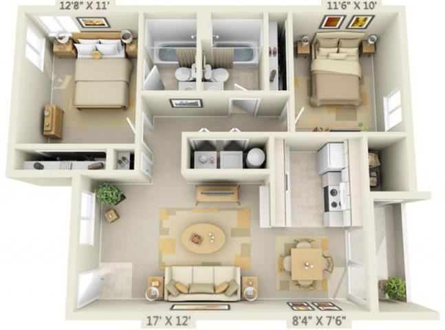 St Marys Woods 2x2 Floor Plan 915 Square Feet