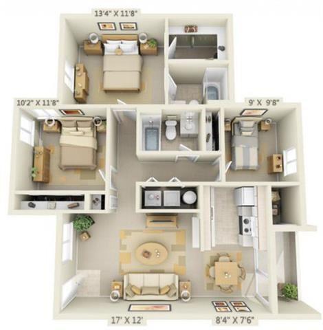St Marys Woods 3x2 Floor Plan 1105 Square Feet