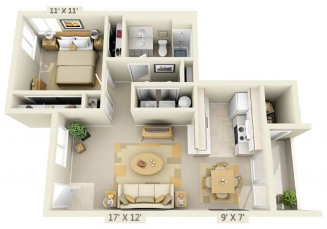 Sir Charles Court Apartments 1x1 Floor Plan 719 Square Feet