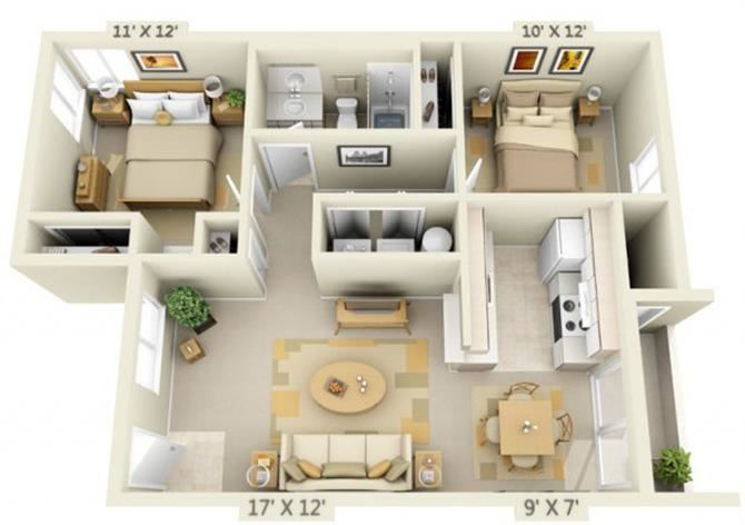 Sir Charles Court Apartments 2x1 Floor Plan 896 Square Feet