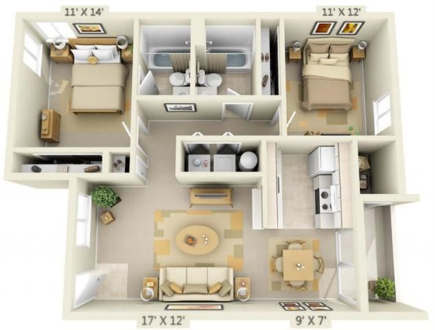 Sir Charles Court Apartments 2x2 Floor Plan 917 Square Feet