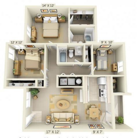 Sir Charles Court Apartments 3x2 Floor Plan 1105 Square Feet