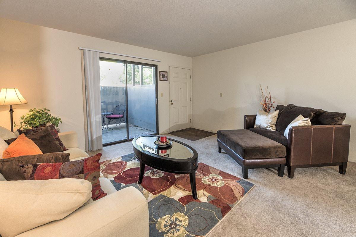 Pepperwood Furnished Model Living Room & Patio Slider
