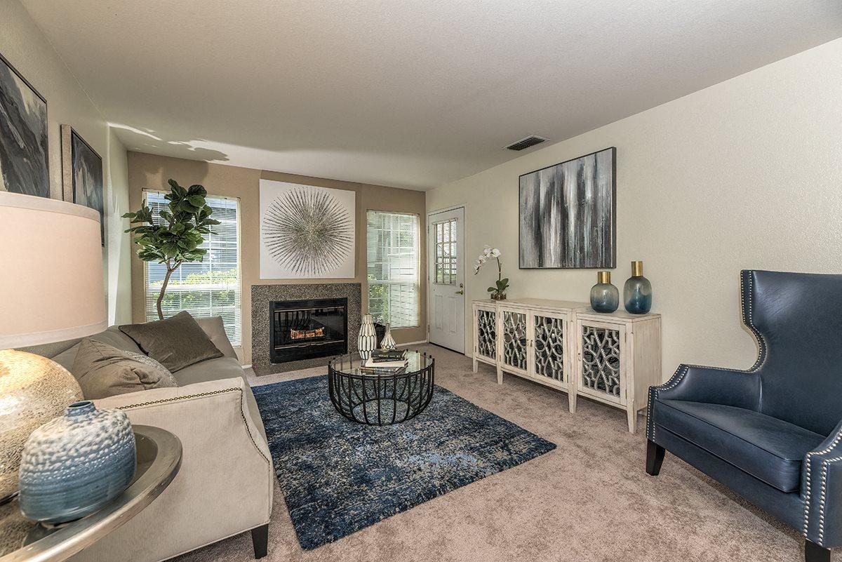 Rocklin Gold Model Living Room & Fireplace