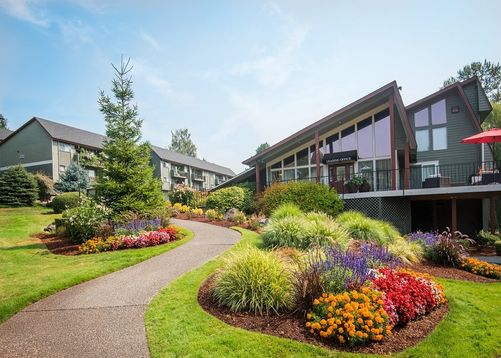 Shadow Hills Clubhouse Exterior Entry & Floral Landscaping