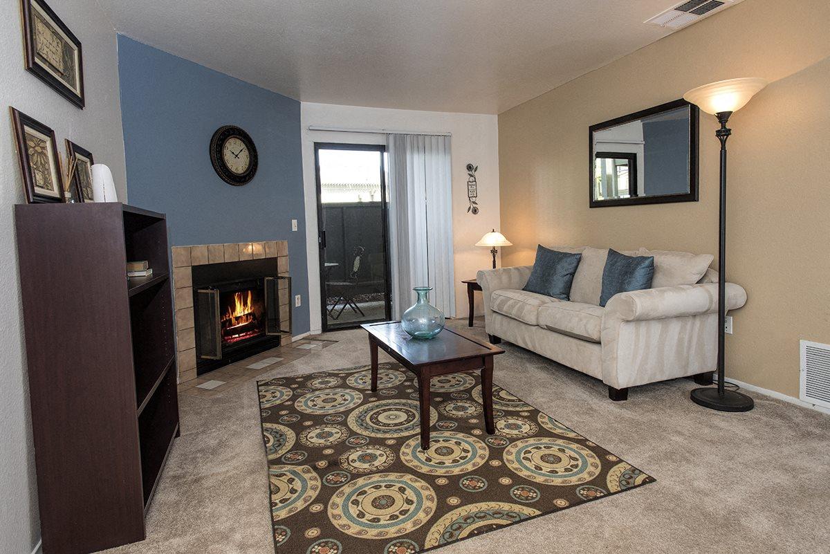 Sierra Glen Model Living Room Fireplace