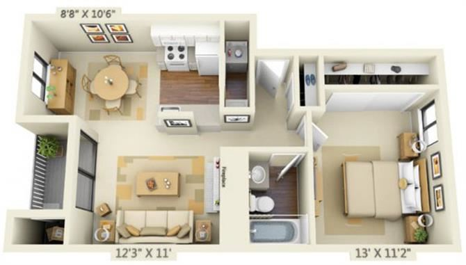 Pembrooke Apartments Pike 1x1 Floor Plan 636 Square Feet