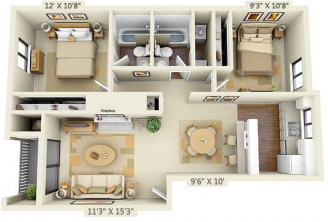 Pembrooke Apartments Washington 2x2 Floor Plan 876 Square Feet