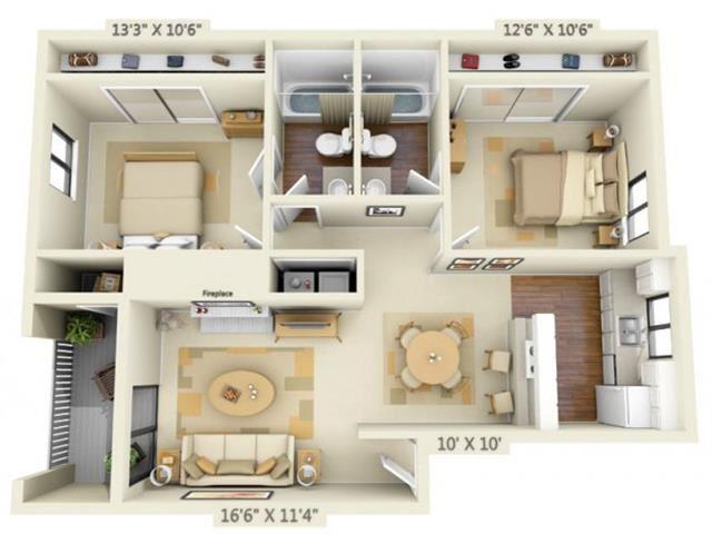 Pembrooke Apartments Paramount 2x2 Floor Plan 956 Square Feet
