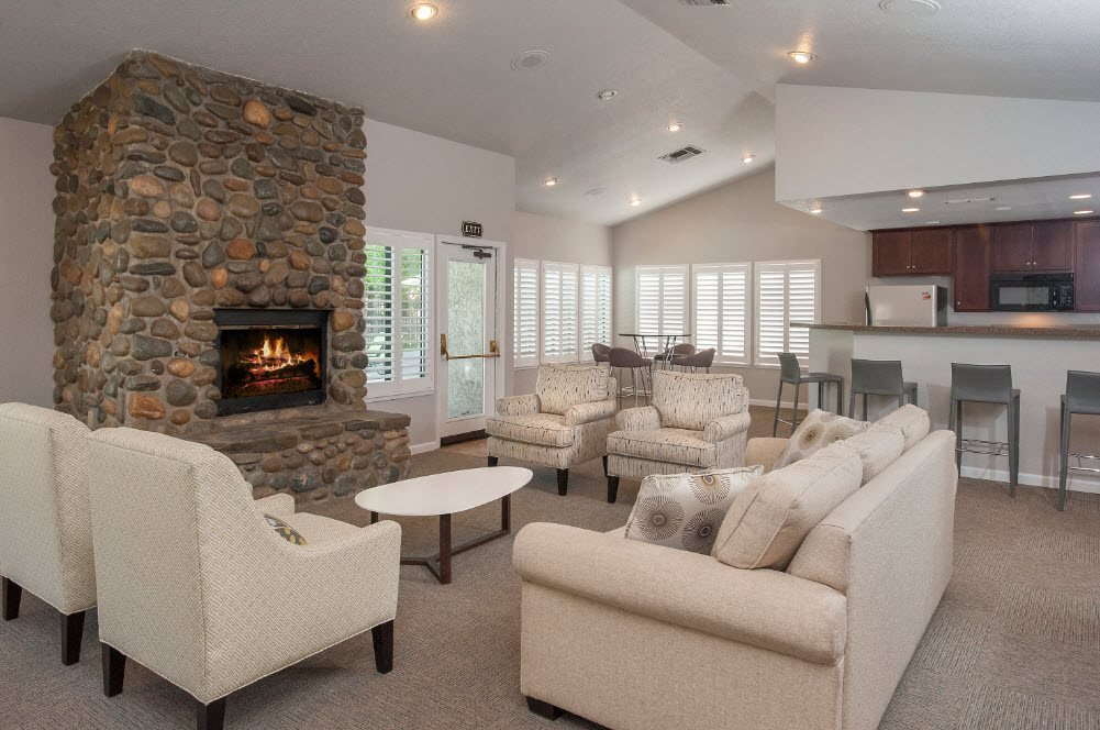 Zinfandel Village Clubhouse Seating Area & Fireplace