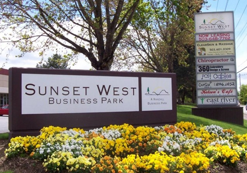 Sunset West Business Park Monument Sign in Hillsboro Oregon