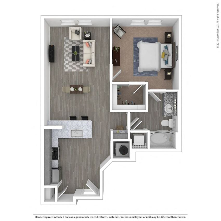 A1C One Bed One Bath Floor Plan at Integra Sunrise Parc, Kissimmee, Florida