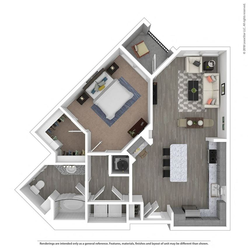 A1D One Bed One Bath Floor Plan at Integra Sunrise Parc, Kissimmee