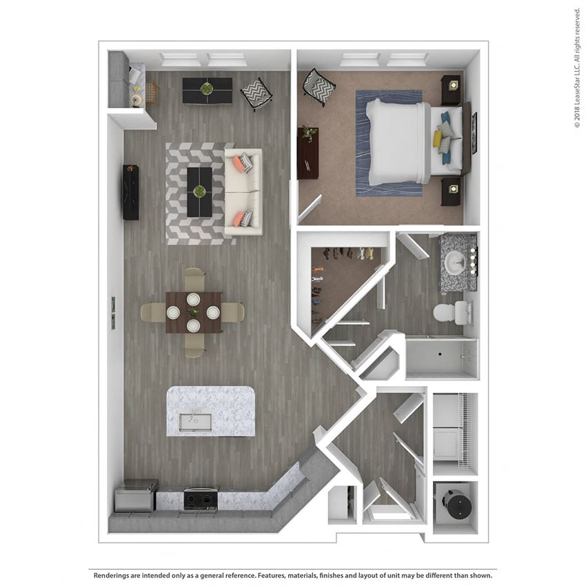A1E One Bed One Bath Floor Plan at Integra Sunrise Parc, Florida
