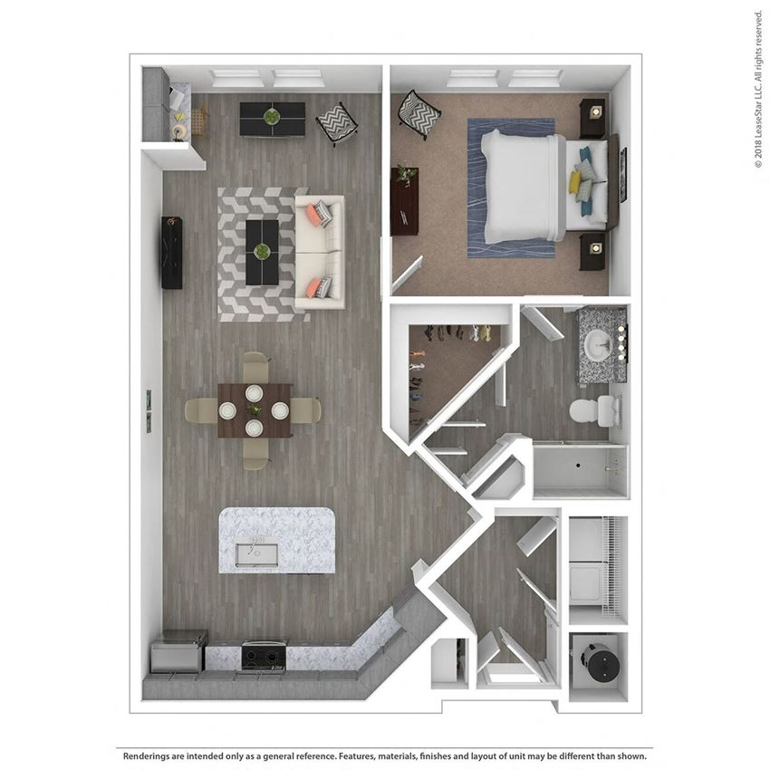A1F One Bed One Bath Floor Plan at Integra Sunrise Parc, Florida, 34746