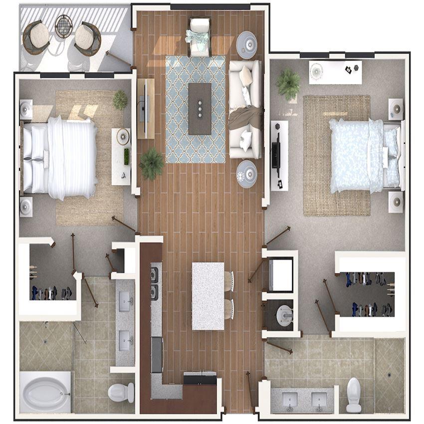 2 Bedroom 2 Bath architecture drawing of B2B floor plan