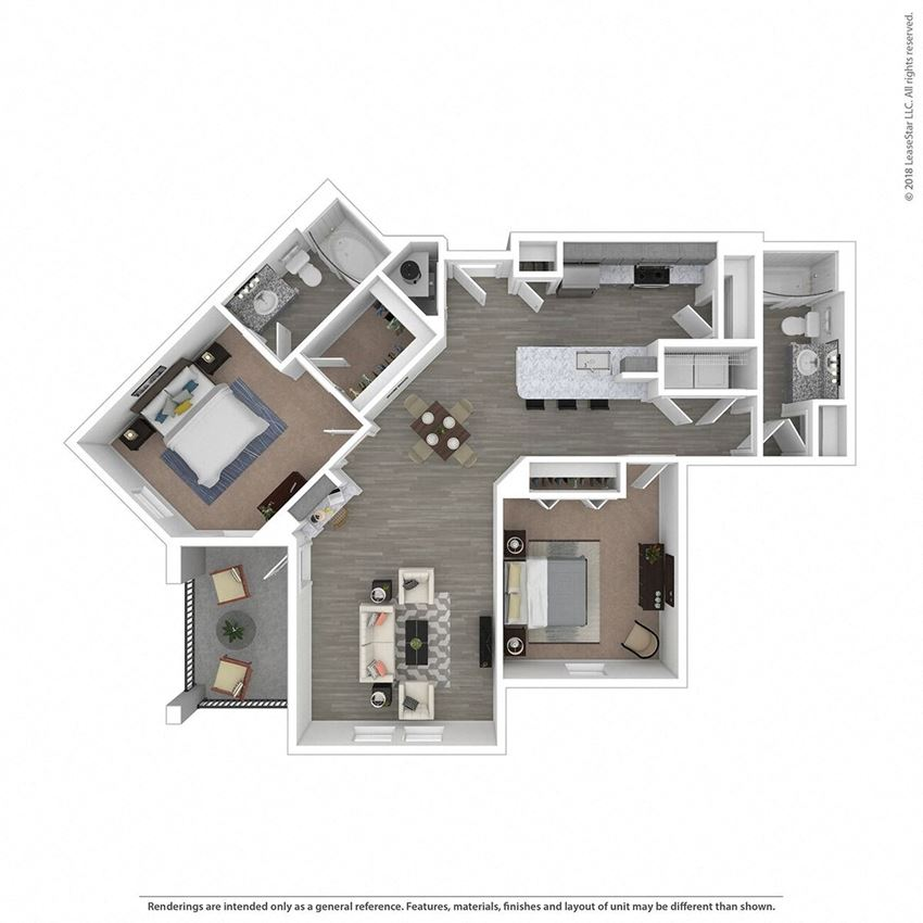 B2B Two Bed Two Bath Floor Plan at Integra Sunrise Parc, Kissimmee, 34746