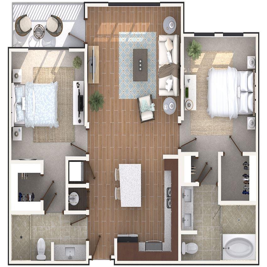 2 Bedroom 2 Bath architecture drawing of B2C floor plan