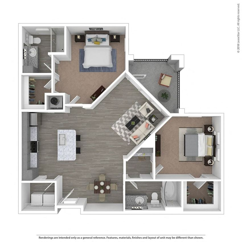 B2C Two Bed Two Bath Floor Plan at Integra Sunrise Parc, Florida, 34746