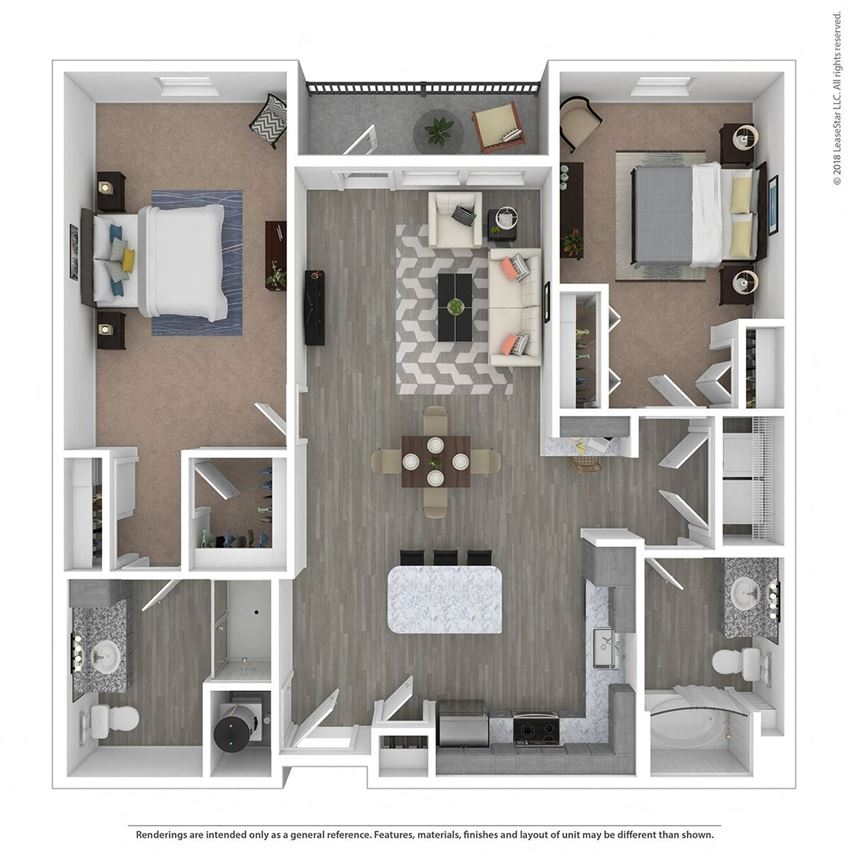 B2D Two Bed Two Bath Floor Plan at Integra Sunrise Parc, Kissimmee