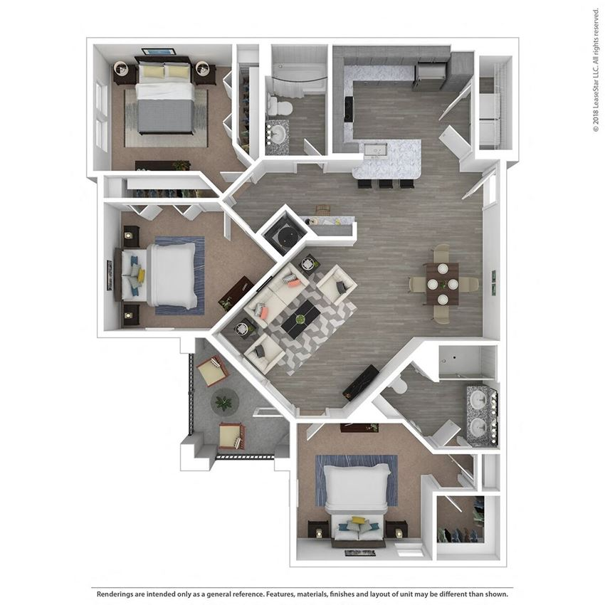 C2A Three Bed Two Bath Floor Plan at Integra Sunrise Parc, Kissimmee, Florida