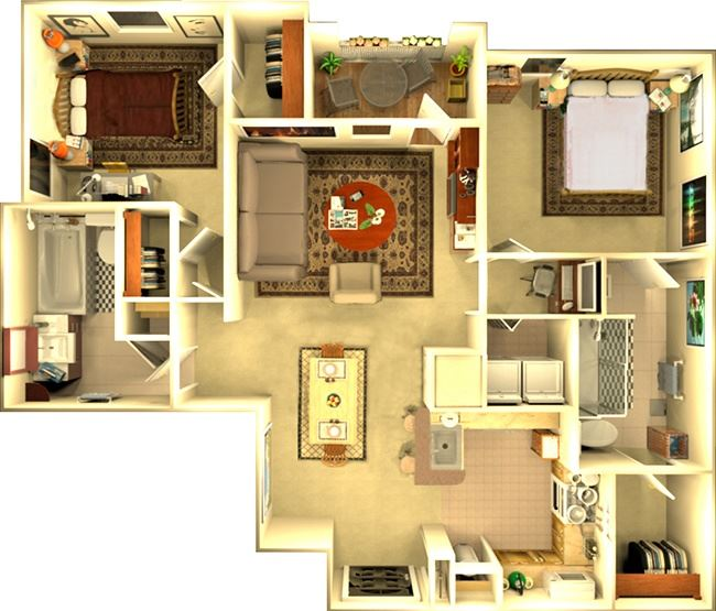 The Atlanta 2 bedroom Floorplan