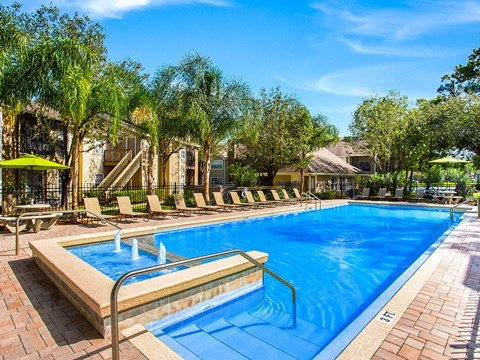Glimmering Pool and fountain at Green Tree Place, Jacksonville, Florida