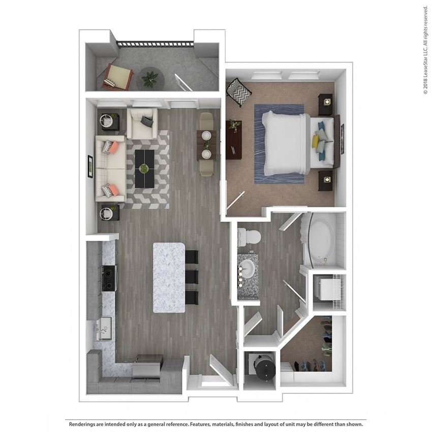 A1A One Bed One Bath Floor Plan at Integra Sunrise Parc, Florida, 34746