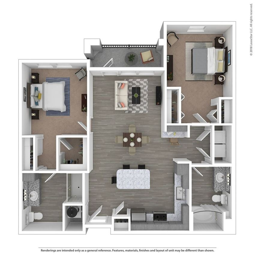 B2A Two Bed Two Bath Floor Plan at Integra Sunrise Parc, Kissimmee, FL