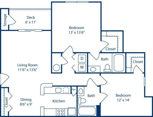 DeluxeTwoBedroom1048sf at Bell Brookfield, Greenville, SC