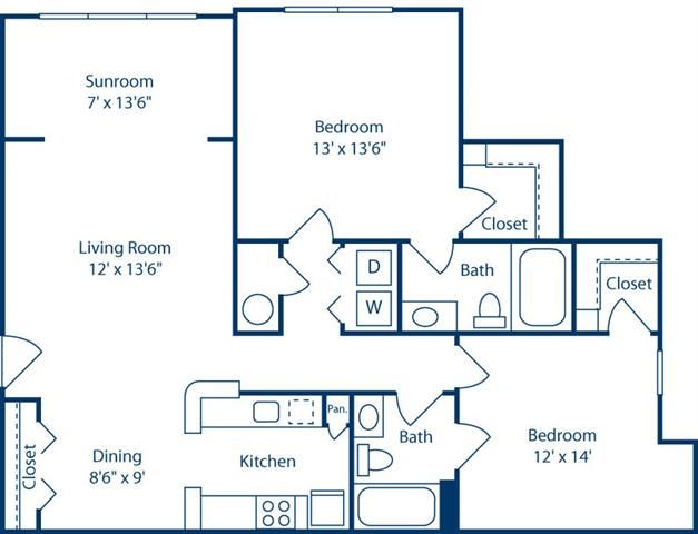 DeluxeTwoBedroomwithSunroom1156sf at Bell Brookfield, Greenville, 29607