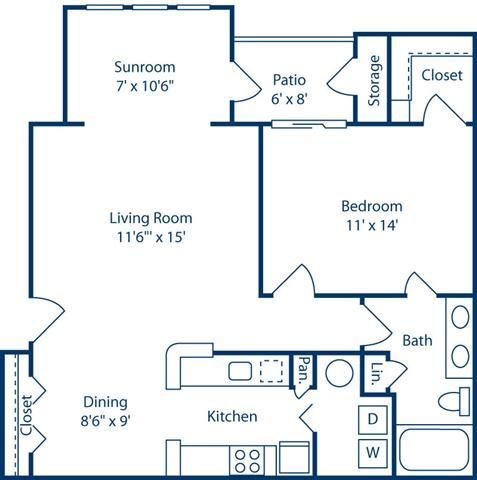 OneBedroomwithSunroom858sf at Bell Brookfield, Greenville