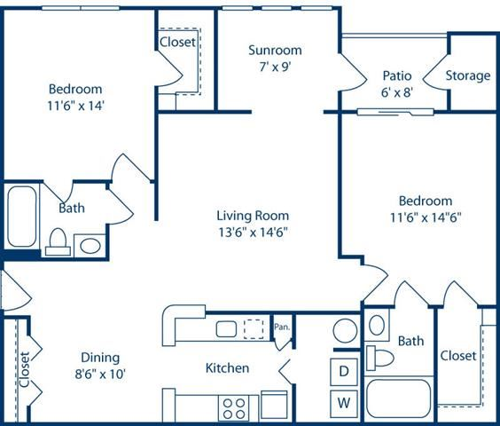 TwoBedroomwithSunroom1108sf at Bell Brookfield, Greenville, SC